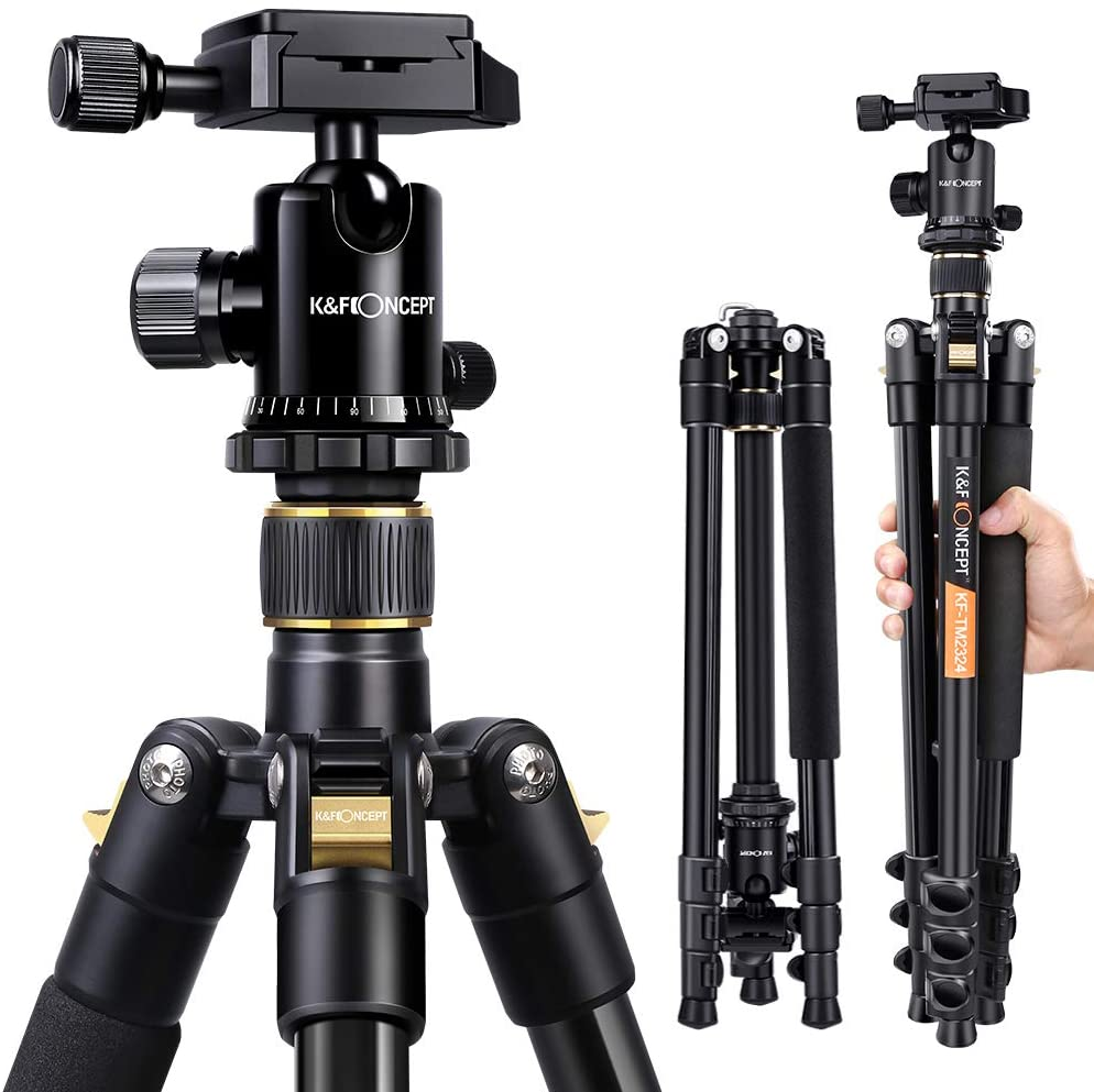 The Best Travel Photography Gear: What's In My Camera Bag | K&F Concept 62'' DSLR Tripod, Lightweight and Compact Aluminum Camera Tripod with 360 Panorama Ball Head Quick Release Plate for Travel and Work (TM2324 Black)