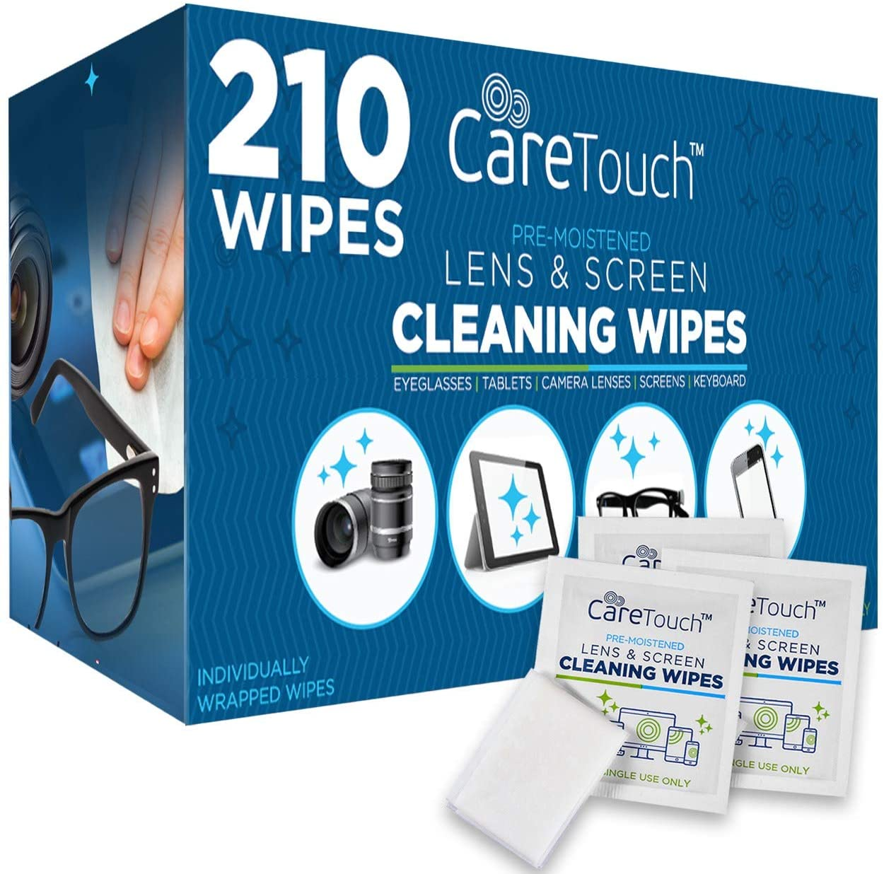 The Best Travel Photography Gear: What's In My Camera Bag | Care Touch Lens Cleaning Wipes - 210 Pre-Moistened and Individually Wrapped Lens Cleaning Wipes - Great for Eyeglasses, Tablets, Camera Lenses, Screens, Keyboards and Delicate Surfaces