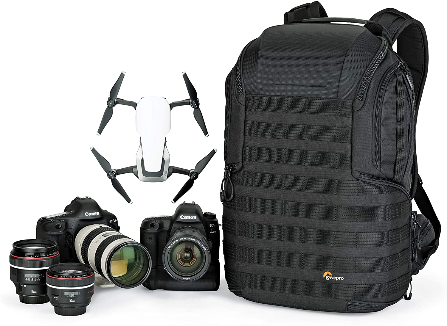 The Best Travel Photography Gear: What's In My Camera Bag | Lowepro ProTactic 450 AW II Black Pro Modular Backpack with All Weather Cover for Laptop Up to 15 Inch, Tablet, Canon/Sony Alpha/Nikon DSLR, Mirrorless CSC and DJI Mavic Drones LP37177-PWW, Black